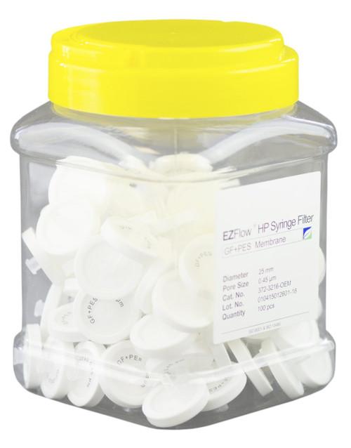 EZFlow 25 mm  Syringe Filter, .45 um PES,Glass Fiber Prefilter, 100/pack