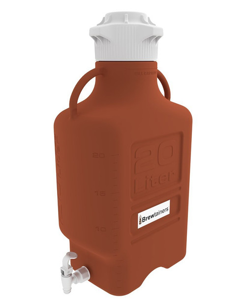Brewtainers HDPE Amber Light Blocking 20L (7 Gal Max) Homebrew Yeast Spigoted Despensing Container with leakproof  Tight Sealed 120mm Cap