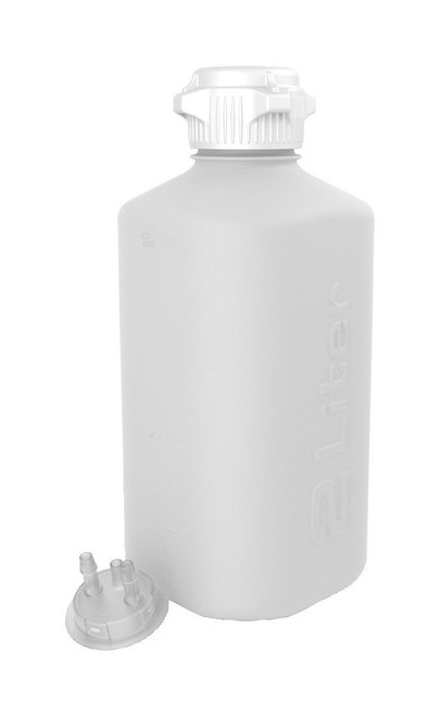 """2L HDPE Heavy Duty Vacuum Bottle, with 1/4"""" Hose Barb Adapter"""