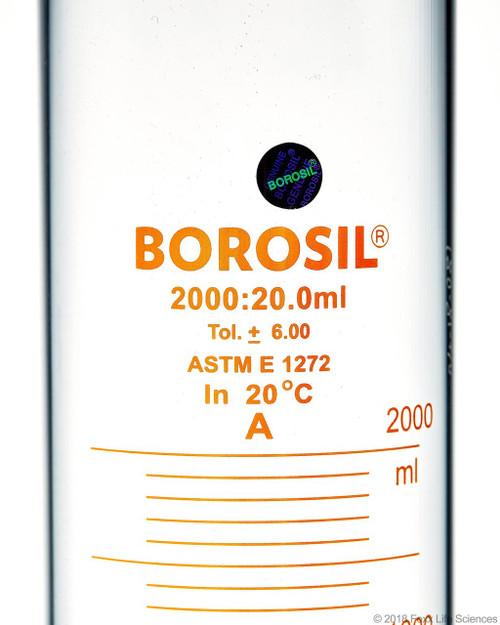 Graduated Measuring Cylinder Hexagonal Base, 2000 mL Borosilicate, CS/4