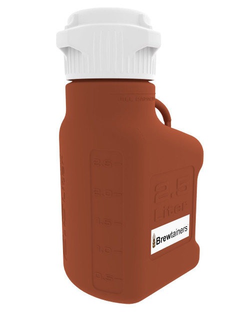 Brewtainers HDPE Amber Light Blocking 2.5L (.86 Gal Max) Homebrew Yeast Container with leakproof Tight Sealed 83mm Cap