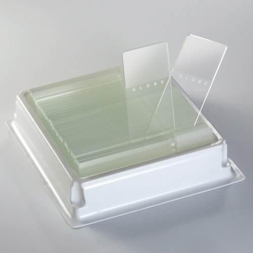 Microscope Slides, Diamond White Glass, 25 x 75mm, 90° Ground Edges, WHITE Frosted