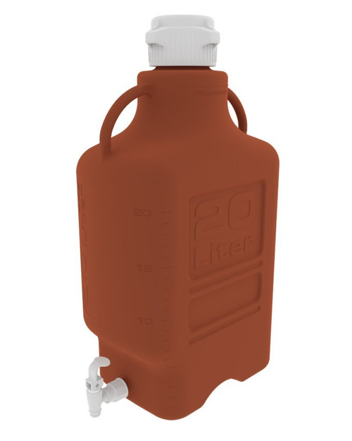 20L (5 Gal) Amber HDPE Carboy with 83mm Cap and Spigot