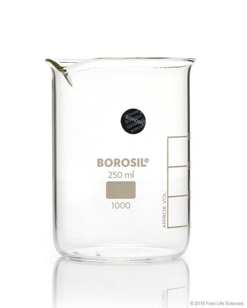 Borosil Beaker Griffin Low Form with Spout Graduated ISO 3819 Borosilicate 250mL CS/40