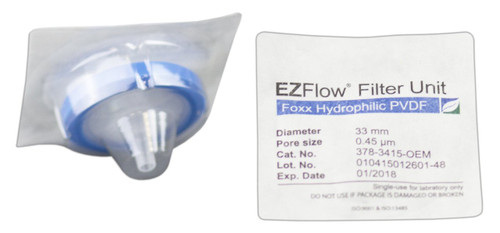 EZFlow 33 mm Sterile Syringe Filter, .45 um Hydrophilic PVDF, 100/pack