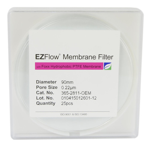 25 pack EZFlow® 90mm 0.2µm Hydrophobic PTFE Membrane Disc Filter
