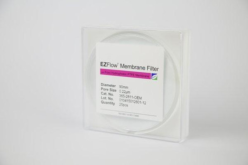 25 pack EZFlow® 90mm 0.2µm Hydrophobic PTFE Membrane Disc Filter