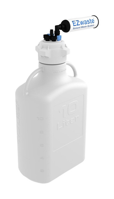 """EZwaste® Safety Vent Carboy 10L HDPE with VersaCap® 83mm, 4 ports for 1/8"""" OD Tubing, 3 ports for 1/4"""" OD Tubing, 1 port for 1/4"""" HB or 3/8"""" HB"""
