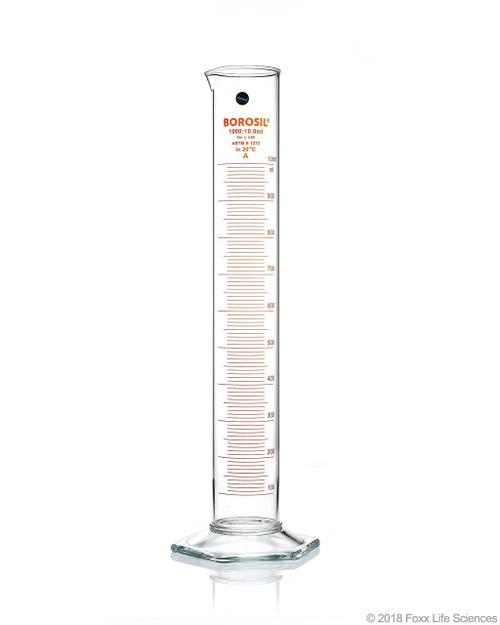 Graduated Measuring Cylinder Hexagonal Base, 1000 mL Borosilicate, CS/4