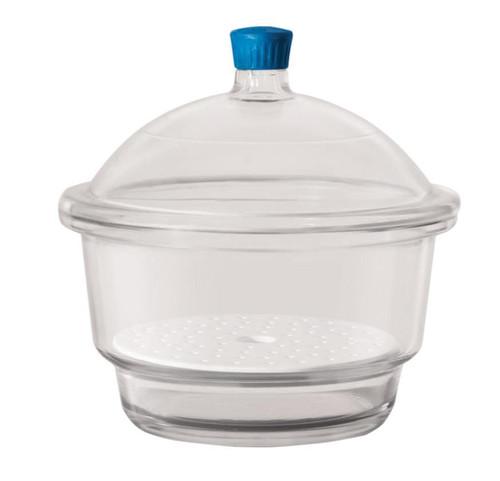 Borosil Desiccator with cover and Porcelain plate plastic knob 200 mm borosilicate glass