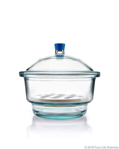 Borosil Desiccator With Cover and Porcelain Plate, Plastic Knob, Borosilicate Glass 300 mm CS/1
