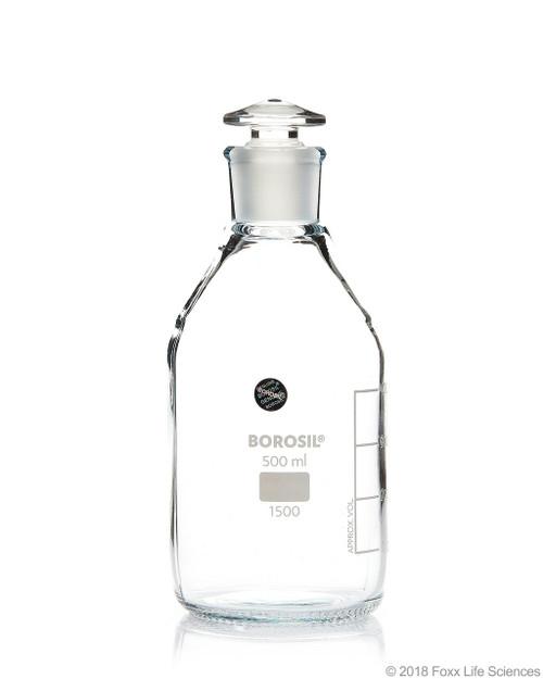 Borosil Reagent Bottles, Plain, Narrow Mouth, Graduated 500 mL CS/10