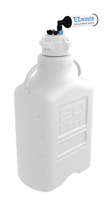 """EZwaste® Safety Vent Carboy 20L HDPE with VersaCap® 83mm, 4 ports for 1/8"""" OD Tubing, 3 ports for 1/4"""" OD Tubing"""