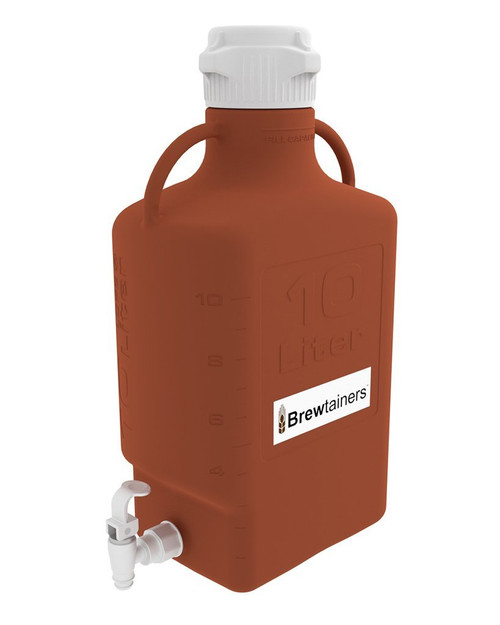 Brewtainers HDPE Amber Light Blocking 10L (3.44 Gal Max) Homebrew Yeast Spigoted Despensing Container with leakproof Tight Sealed 83mm Cap