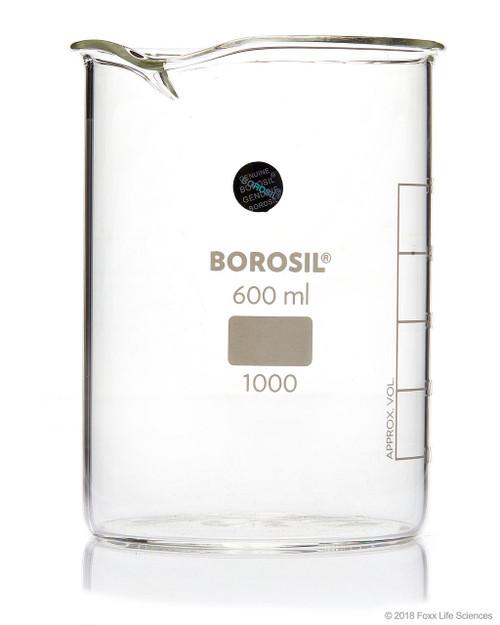 Borosil Beaker Griffin Low Form with Spout Graduated ISO 3819 Borosilicate 600mL CS/40