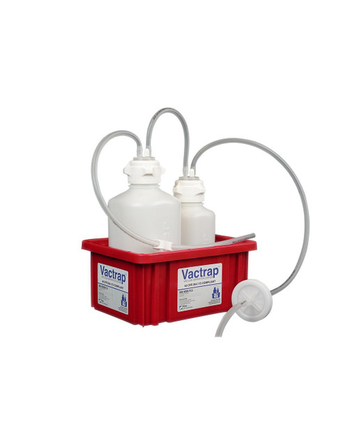 """Vactrap™, HDPE (Bleach-Compatible), 2L + 1L, Red Bin, 1/4"""" ID Tubing"""
