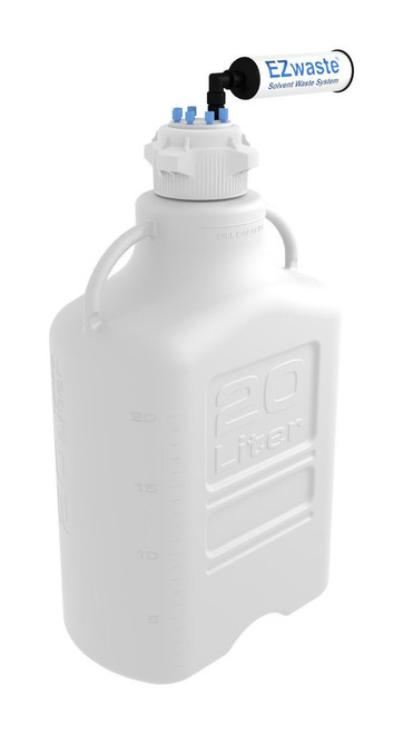 EZwaste® Safety Vent Carboy 20L HDPE with VersaCap® 83mm, 6 Ports for 1/8'' OD Tubing and a Chemical Exhaust Filter