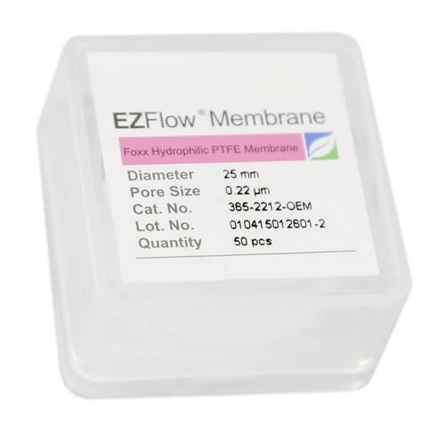 50 pack EZFlow® 25mm 0.2µm Hydrophobic PTFE Membrane Disc Filter