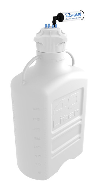 EZwaste® Safety Vent Carboy 40L HDPE with VersaCap® 120mm and EZ Top adapter, 6 Ports for 1/8'' OD Tubing and a Chemical Exhaust Filter