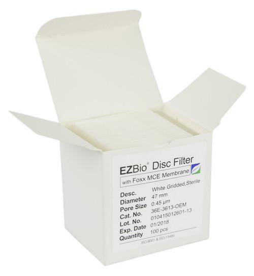 100 pack 47mm 0.45µm MCE EZBio® Gridded Disc Filter, Sterile