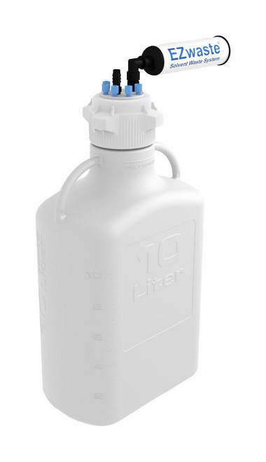 """EZwaste® Safety Vent Carboy 10L HDPE with VersaCap® 83mm, 6 ports for 1/8"""" OD Tubing, 1 port for 1/4"""" HB or 3/8""""HB"""