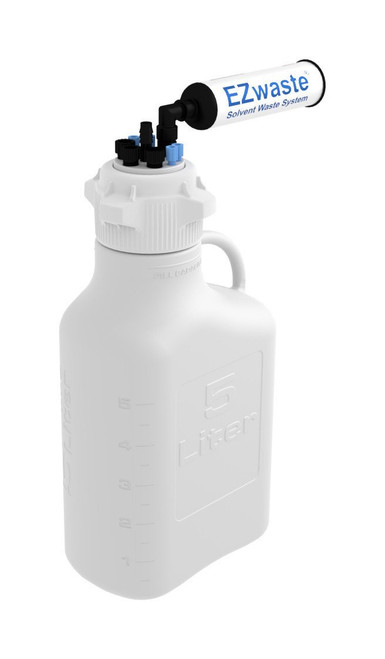 """EZwaste® Safety Vent Carboy 5L HDPE with VersaCap® 83mm, 4 ports for 1/8"""" OD Tubing, 3 ports for 1/4"""" OD Tubing, 1 port for 1/4"""" HB or 3/8"""" HB"""