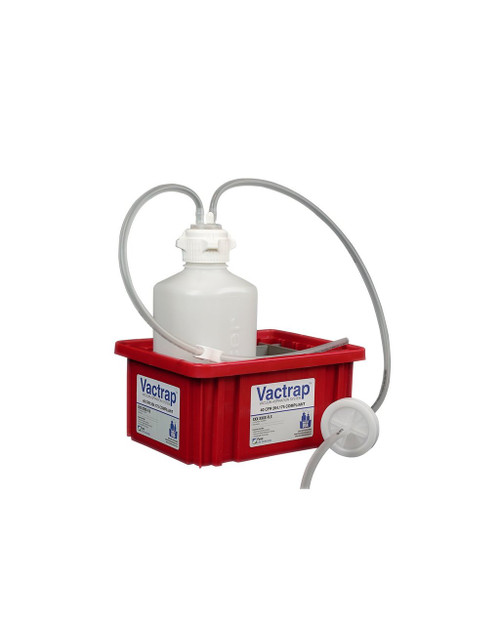 """Vactrap™, HDPE (Bleach-Compatible), 2L, Red Bin, 1/4"""" ID Tubing"""
