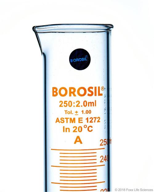 Graduated Measuring Cylinder Hexagonal Base, 250 mL Borosilicate, CS/5