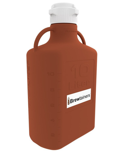 Brewtainers HDPE Amber Light Blocking 10L (3.44 Gal Max) Homebrew Yeast Container with leakproof Tight Sealed 83mm Cap