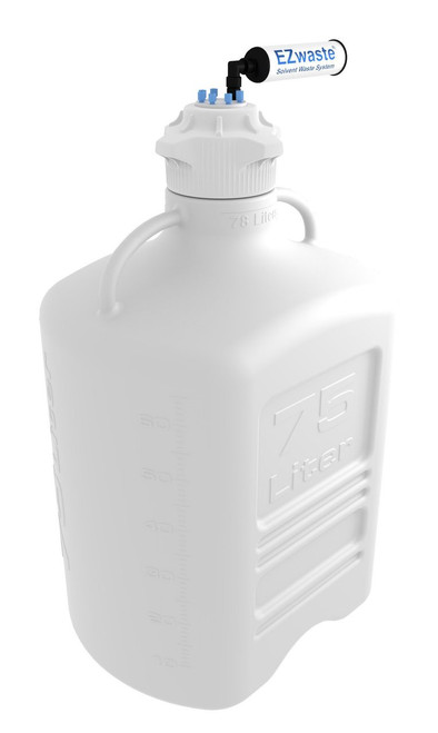 EZwaste® Safety Vent Carboy 75L HDPE with VersaCap® 120mm and EZ Top adapter, 6 Ports for 1/8'' OD Tubing and a Chemical Exhaust Filter