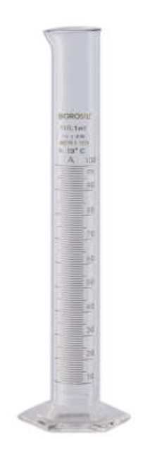 Graduated Measuring Cylinder Pour Out Single Metric ASTM 100 mL Individual Certificate, TC