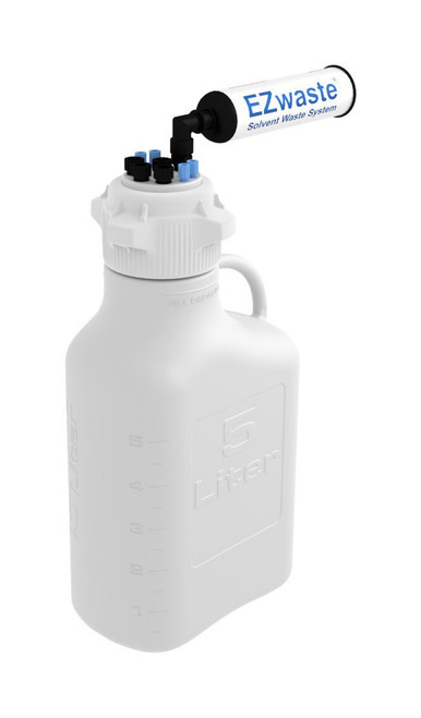 """EZwaste® Safety Vent Carboy 5L HDPE with VersaCap® 83mm, 4 ports for 1/8"""" OD Tubing, 4 ports for 1/4"""" OD Tubing"""