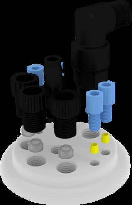 "EZwaste® UN/DOT Filter Kit, VersaCap®S70 , 4 ports for 1/8"" OD Tubing, 3 port for 1/4"" OD Tubing, 1 port for 1/4"" HB or 3/8""HB with 20L Container"