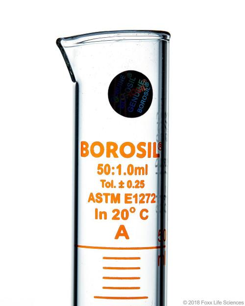Graduated Measuring Cylinder Hexagonal Base, 50 mL Borosilicate, CS/5, To Contain