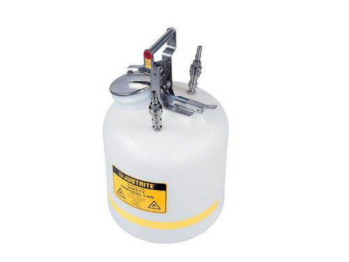 "Quick-Disconnect Disposal Safety Can, stainless steel fittings for 3/8"" tubing, 5 gal., polyethylene"