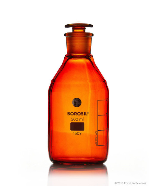 Borosil Amber Reagent Bottles, Plain, Narrow Mouth, Graduated 500 mL CS/10