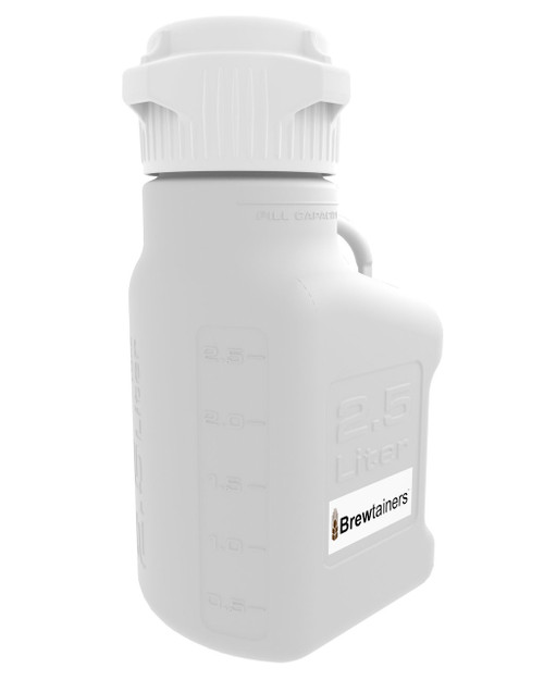 Brewtainers HDPE 2.5L (.86 Gal Max) Homebrew Yeast Container with leakproof Tight Sealed 83mm Cap