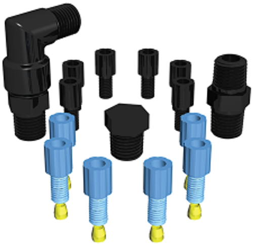 EZwaste®, Safety Vent, Replacement Fittings, 1/8'' OD Fittings and 1/4'' Fittings Pack
