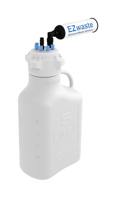 """EZwaste® Safety Vent Carboy 5L HDPE with VersaCap® 83mm, 6 ports for 1/8"""" OD Tubing, 1 port for 1/4"""" HB or 3/8""""HB"""