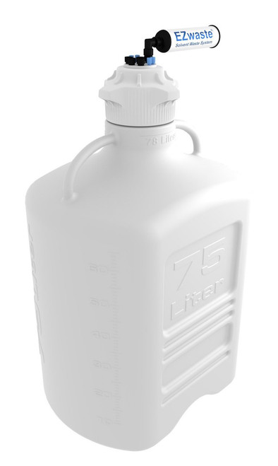 """EZwaste® XL Safety Vent Carboy 75L HDPE with VersaCap® 120mm, 4 Ports for 1/8""""� OD Tubing, 4 Ports for 1/4""""� OD Tubing and a Chemical Exhaust Filter"""