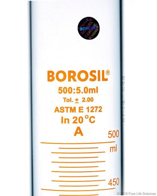 Graduated Measuring Cylinder Hexagonal Base, 500 mL Borosilicate, CS/4