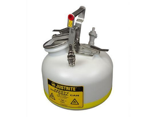 "Quick-Disconnect Disposal Safety Can with fittings for 3/8"" tubing, 2 gal., polyethylene"