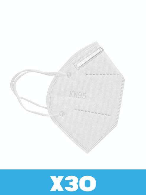 KN-95 Face Mask, white, 30 per pack, regular size