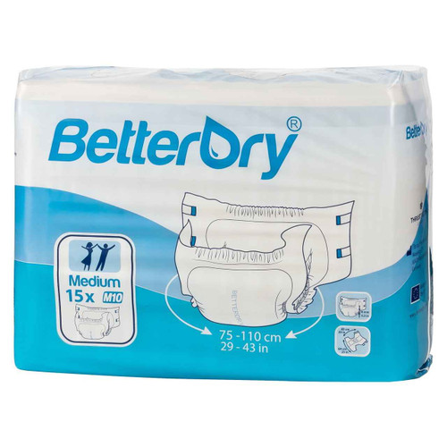 BetterDry Adult Diapers w/ Plastic Backing