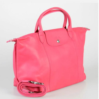 Small Top-handle with Strap Pink Leather Tote