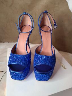AMINA MUADDI Blue Glitter Bianca Pumps - Blue