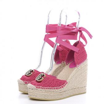 Pink Crochet Pearl Embellished GG Espadrille