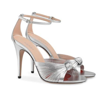 Silver Crawford Knotted Metallic Leather Sandals Pumps