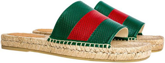Red/Green Men's Malaga Perforated Leather Espadrilles Slides Flats