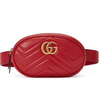RED LEATHER CHEVRON GG MARMONT BELT BAG